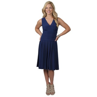 Jessica Howard Women's Sleeveless Surplice Rouched Waist Dress