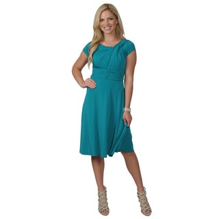 Jessica Howard Women's Cap Sleeve Knot Neck Fit and Flare Dress