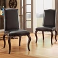 INSPIRE Q Lorell Brown Bonded Leather Upholstered Traditional Dining Chair (Set of 2)