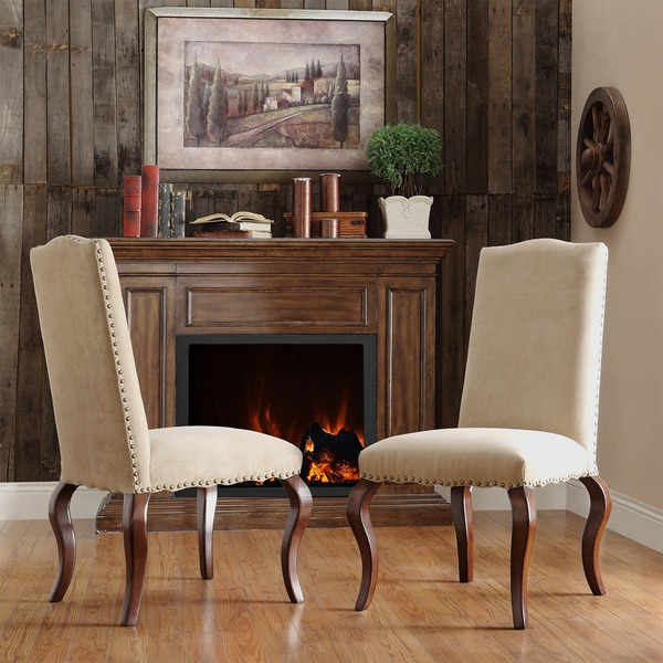 Lorell Peat Microfiber Nailhead Upholstered Traditional Dining Chair (Set of 2)