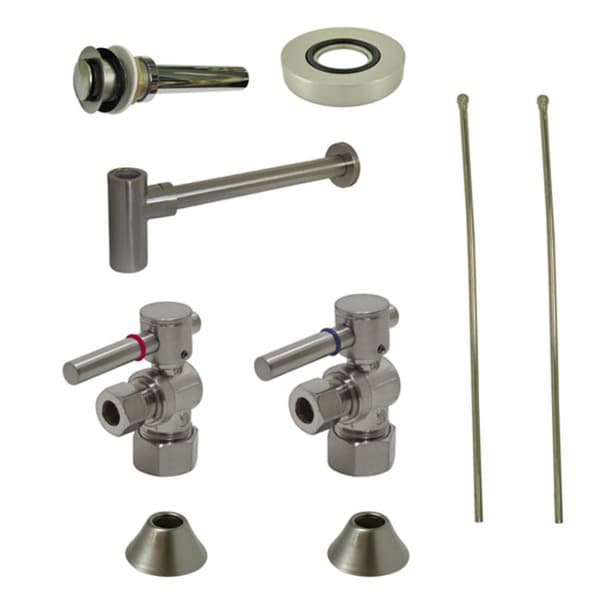 Satin Nickel Vessel Sink Plumbing Supply Kit without Overflow Hole