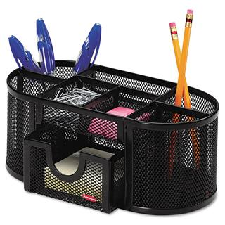 Rolodex Black Mesh 8-compartment Pencil Cup Organizer