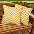 Chevron Yellow Square Corded Indoor/ Outdoor Pillows (Set of 2)