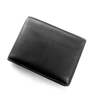 Joseph Daniel Men's Black Napa Leather Bi-fold Wallet