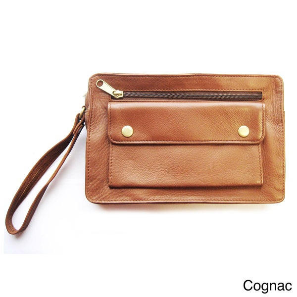 Unisex Leather Accessories Bag with Wrist Strap