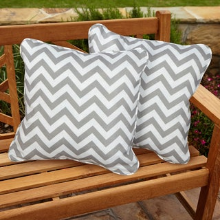 Chevron Grey Square Corded Indoor/ Outdoor Accent Pillows (Set of 2)