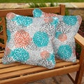 Tropic Bloom Square Corded Outdoor Pillows (Set of 2)