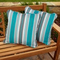 Tropic Stripe Square Corded Outdoor Pillows (Set of 2)