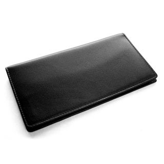 Black Leather Checkbook Cover Wallet