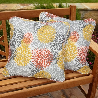 Tango Bloom Square Corded Indoor/ Outdoor Pillows (Set of 2)