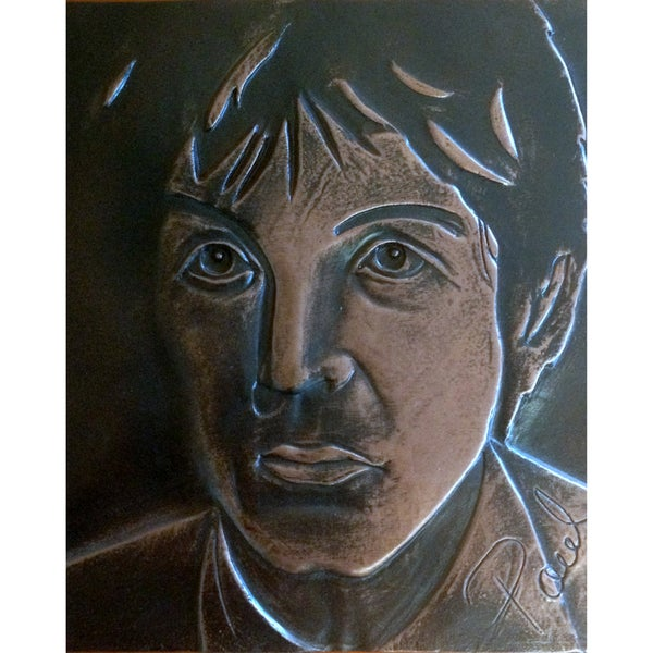 Handmade Paul Mccartney Copper Patina Tile (Mexico)