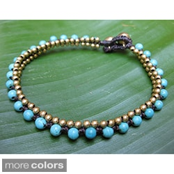 Turquoise or Howlite and Brass String Anklet (Thailand)