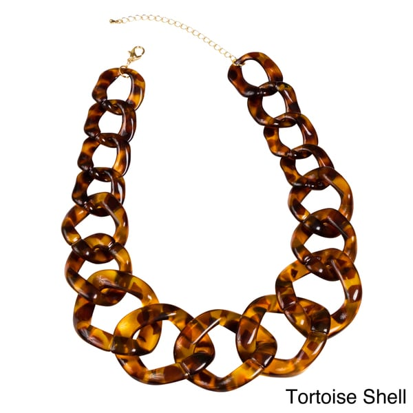 NEXTE Jewelry Goldtone Tortoise Shell or Bone Lucite Link Necklace