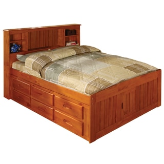 Honey-finished Pine Full-size Bed with Bookcase