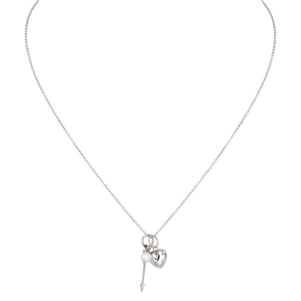 Pearlyta Silver White Freshwater Pearl, Arrow and Heart Charm Necklace (5-6 mm)