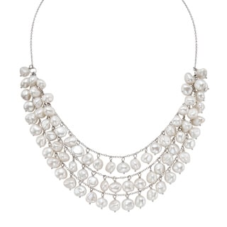 Pearlyta Sterling Silver White FW Pearl Bib Necklace (9 mm)