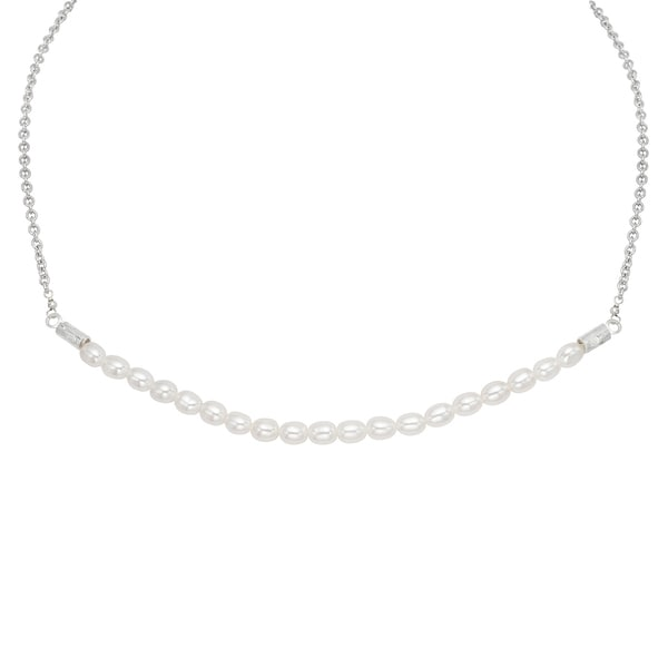 Pearlyta Sterling Silver White Freshwater Pearl Necklace (5-6 mm)