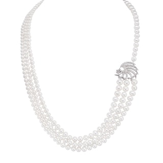 Pearlyta Sterling Silver Pearl and CZ Triple Strand Necklace (5-8 mm)