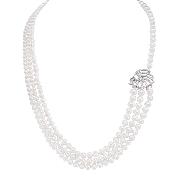 Pearlyta Sterling Silver Freshwater Pearl and CZ Charm Endless Strand Necklace (5-8 mm)