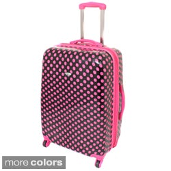 American Travel 25-inch Polka Dot Expandable Lightweight Hardside Spinner Upright Luggage
