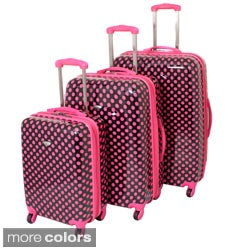 American Travel 3-piece Polka Dot Expandable Lightweight Hardside Spinner Luggage Set