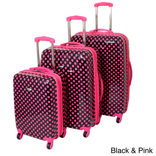American Travel 3-piece Polka Dot Expandable Lightweight Hardside Spinner Luggage Set with TSA Lock