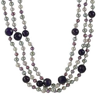 Pearls for You Silver FW Pearl and Amethyst 62-inch Necklace (5-5.5 mm)
