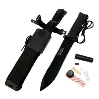 14-Inch Black Carbon Steel Survival Knife Kit