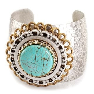 Sweet Romance Pewter Turquoise Glass Medallion Cuff Bracelet