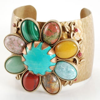 Sweet Romance Pewter Multi-gemstone and Glass Flower Cuff Bracelet