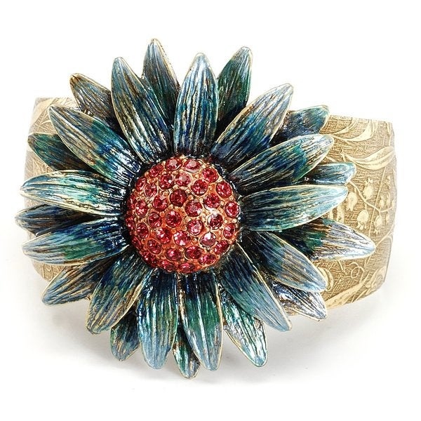 Sweet Romance Goldtone Red Crystal Blue Daisy Cuff Bracelet