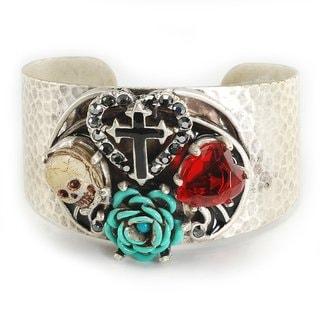 Sweet Romance Pewter Skull, Heart, Rose and Cross Cuff Bracelet