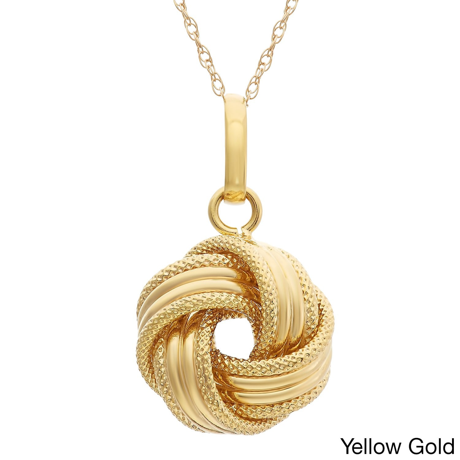 Gioelli Designs Gioelli 14k Gold Textured Large Love Knot Necklace