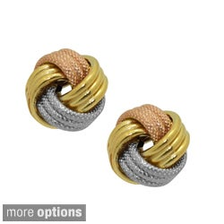 Gioelli 14k Gold Textured Love Knot Earrings