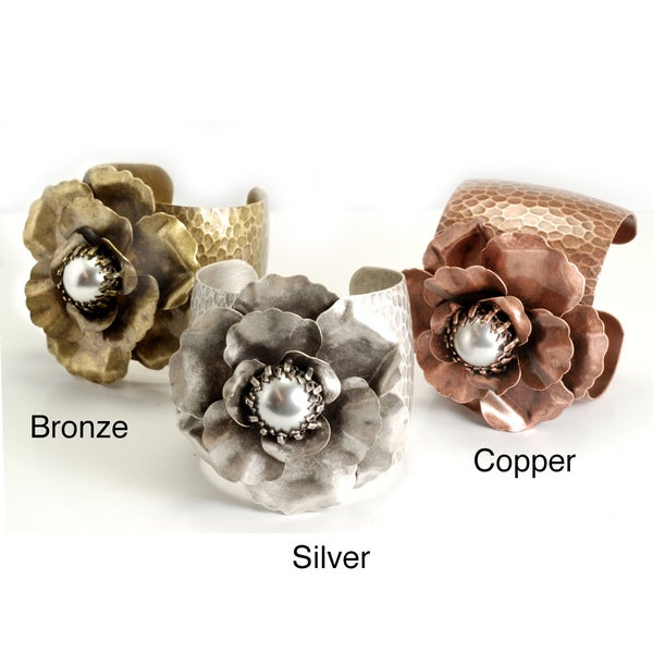 Sweet Romance Pewter Faux Pearl Camellia Cuff Bracelet