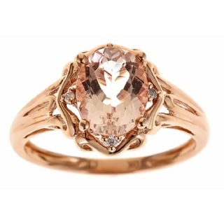 D'yach 10k Rose Gold Morganite and Diamond Accent Ring