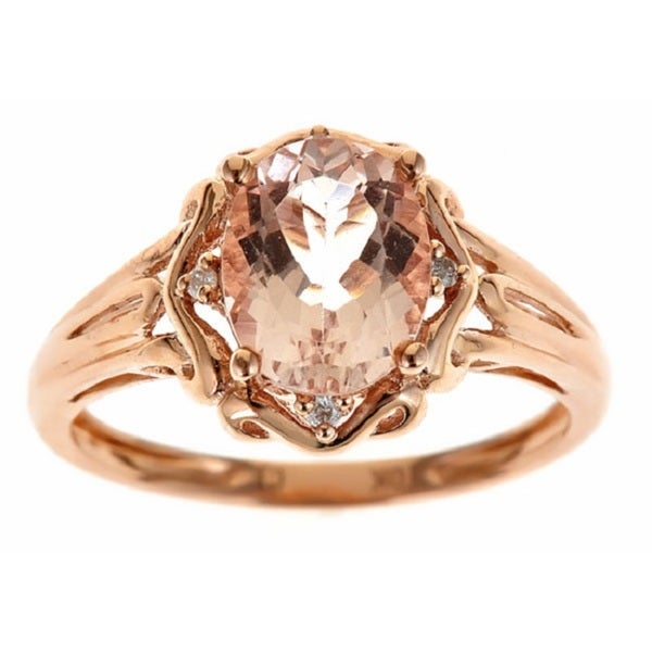 Anika and August 10k Rose Gold Morganite and Diamond Accent Ring
