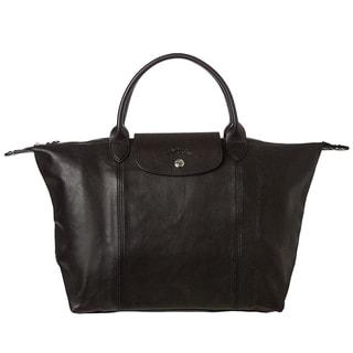 Longchamp 'Le Piliage Cuir' Medium Leather Handbag