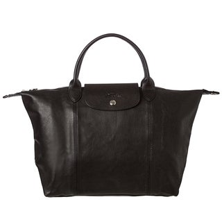 Longchamp 'Le Piliage Cuir' Medium Leather Handbag