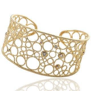 Riccova Color-plated Cubic Zirconia Wide Bubble Cuff Bracelet