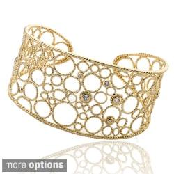 Riccova Color-plated Cubic Zirconia Wide Bubble Cuff Bracelet