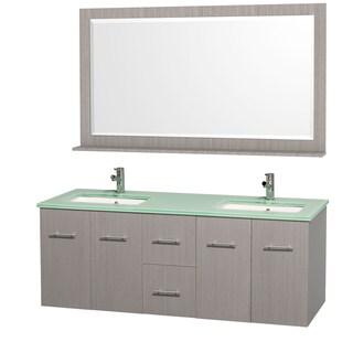 Centra Grey Oak/ Green Glass 60-inch Double Bathroom Vanity Set