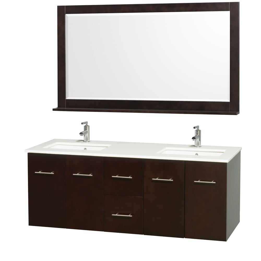 Wyndham Collection Centra Espresso/ White 60-inch Double Bathroom Vanity Set at Sears.com