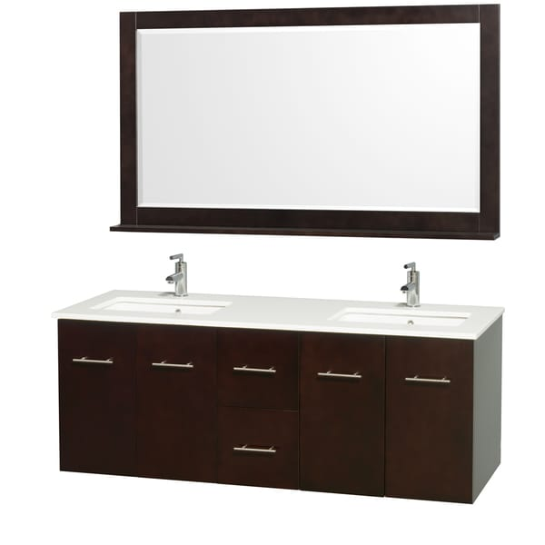 Innovative Caroline 60 Inch Double Sink Bathroom Vanity In White By Virtu USA