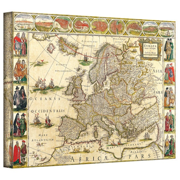 Willem Blaeu 'Map of Europe' Gallery-wrapped Canvas