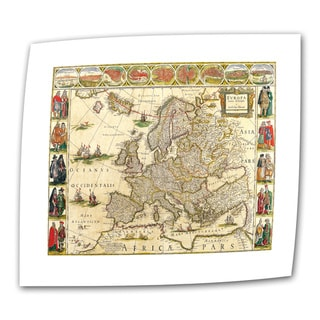 Willem Blaeu 'Map of Europe' Unwrapped Canvas