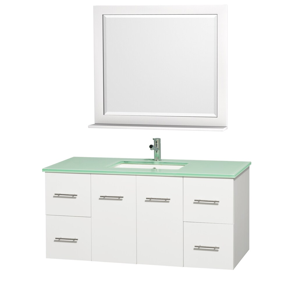 Wyndham Collection Centra White/ Green Glass 48-inch Single Bathroom Vanity Set at Sears.com