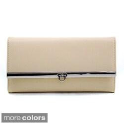 Dasein Women's Solid Tri-fold Checkbook Wallet