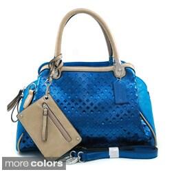 Dasein Women's Metallic Contrast Satchel Bag