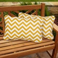 Chevron Yellow Corded Indoor/ Outdoor Pillows (Set of 2)